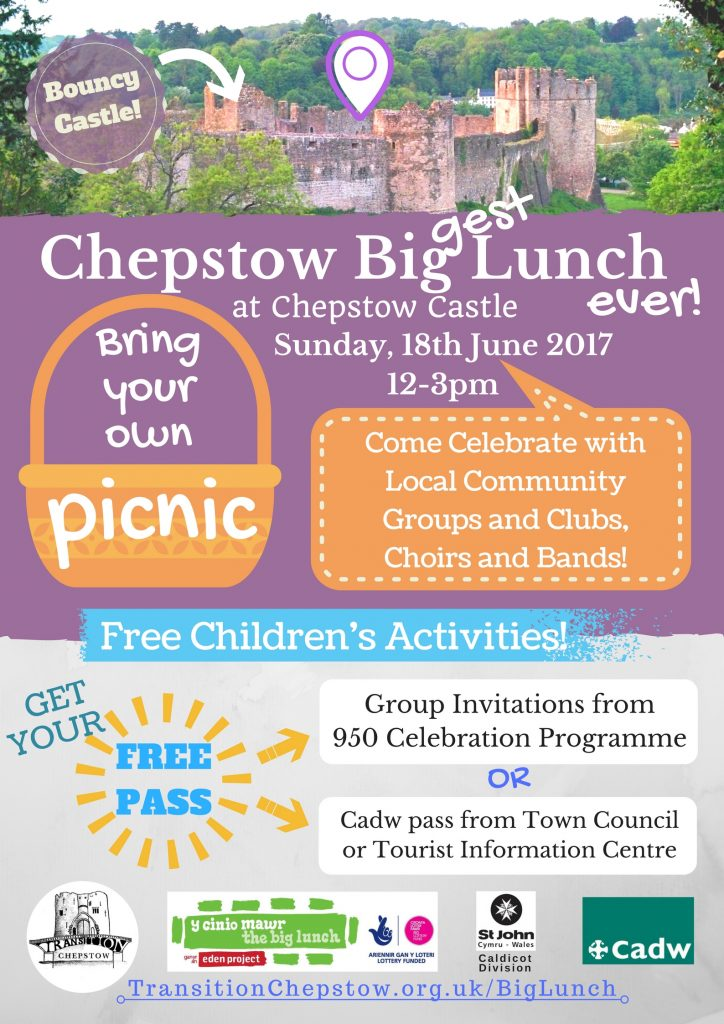 Sunday, 18th June 2017, 12-3pm at Chepstow Castle. Bring your own picnic, come celebrate with local community groups and clubs, choirs and bands! Free children's activities, bouncy castle. Get your free pass from the 950 celebration programme or a free Cadw pass from Town Council or the Tourist Information Centre. Organised by Transition Chepstow, supported by St John Cymru Wales Ambulance Caldicot Division and Cadw.