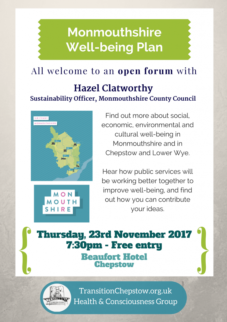Monmouthshire Well-being Plan Open Forum, Thursday, 23rd November 2017, Beaufort Hotel, Chepstow